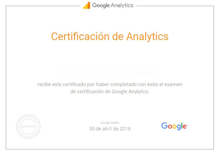 ¿Cómo se obtiene el certificado de Google Analytics?