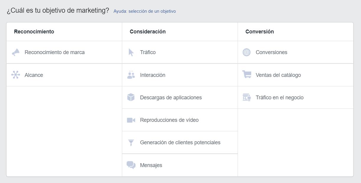 Objetivos en Facebook e Instagram Ads
