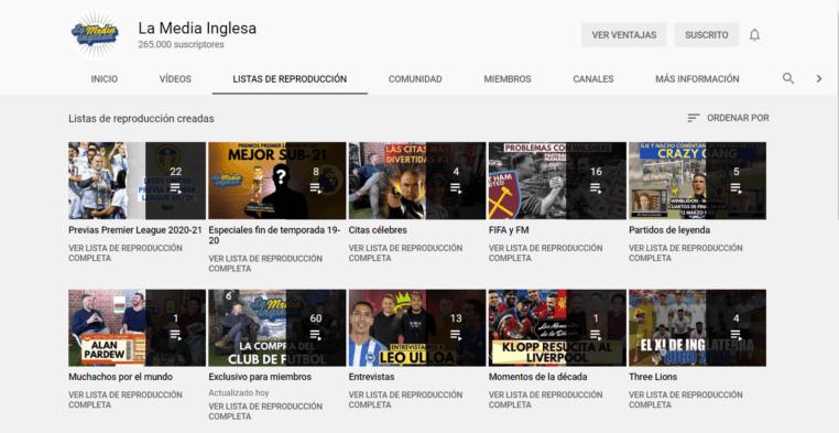 listas de reproducción youtube