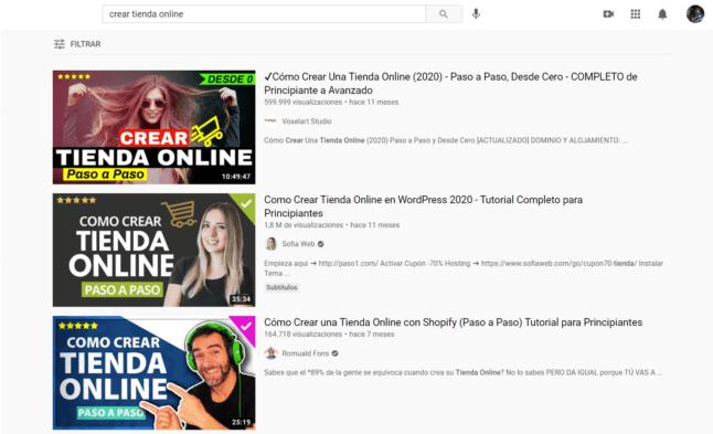 busqueda youtube crear tienda online