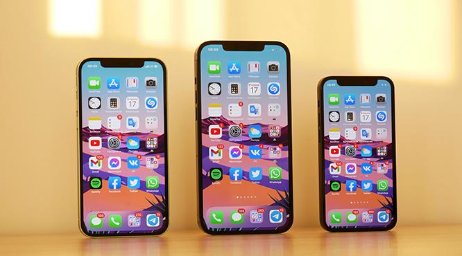 3 móviles con pantallas llenas de apps móviles